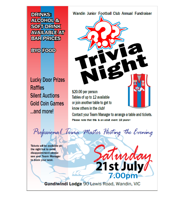 Wandin JFC Annual Fundraiser – Trivia Night
